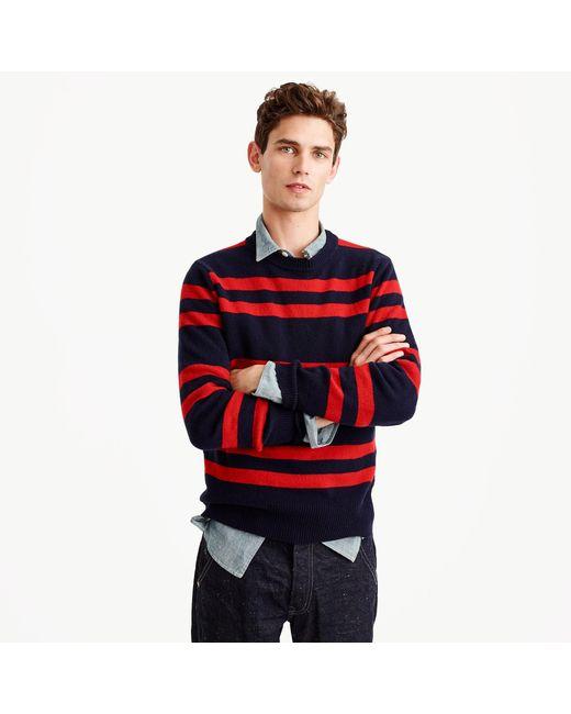 J.Crew | Blue Lambswool Crewneck Sweater In Navy Stripe for Men | Lyst