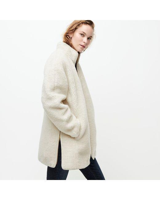 J Crew Zip Up Plush Fleece Coat In Natural Lyst