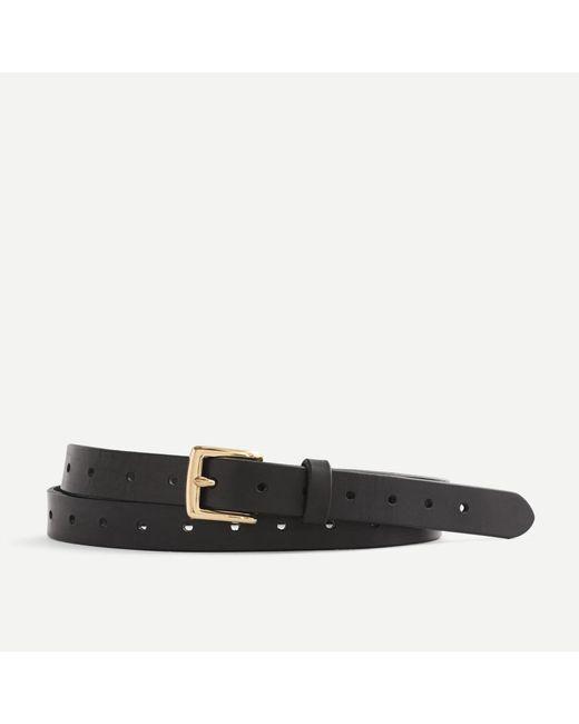 J.Crew Black Perforated Italian Leather Belt