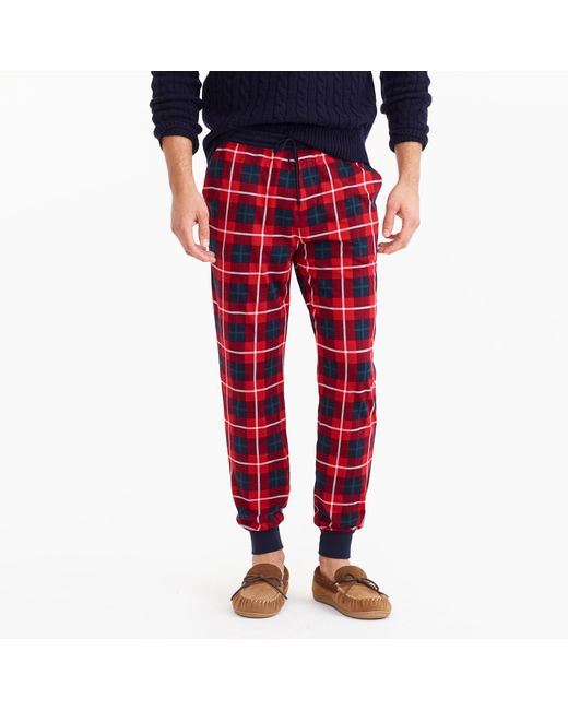 J.Crew | Flannel Lounge Pant In Red Check for Men | Lyst