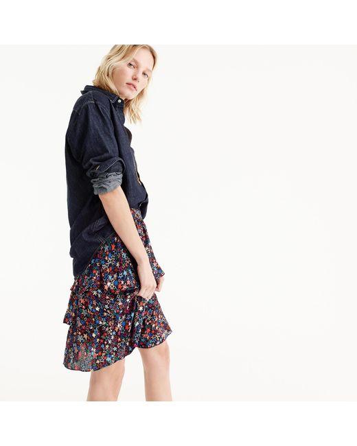 J.Crew   Blue Tall Tiered Skirt In Star Print   Lyst