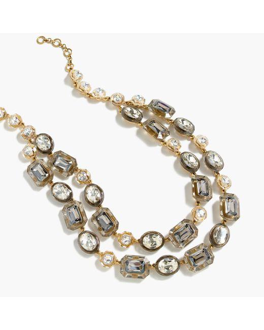 J.Crew | Metallic Stone Double-strand Necklace | Lyst