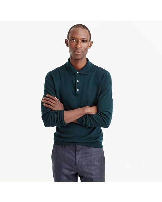J.Crew | Green Italian Merino Wool Polo-sweater for Men | Lyst