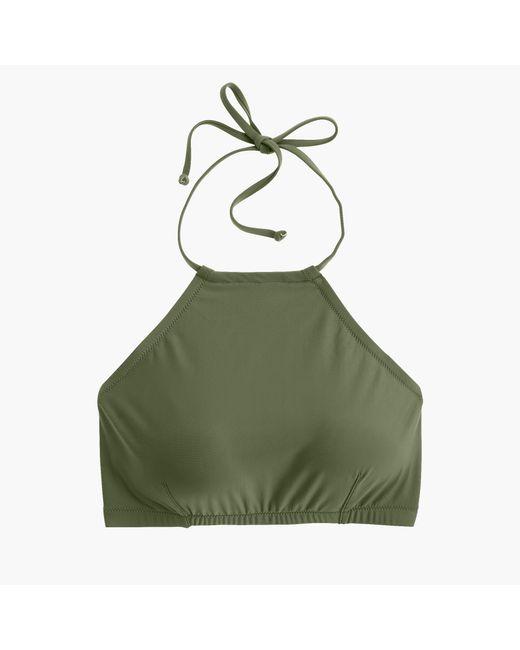 J.Crew Green Cropped Halter Bikini Top
