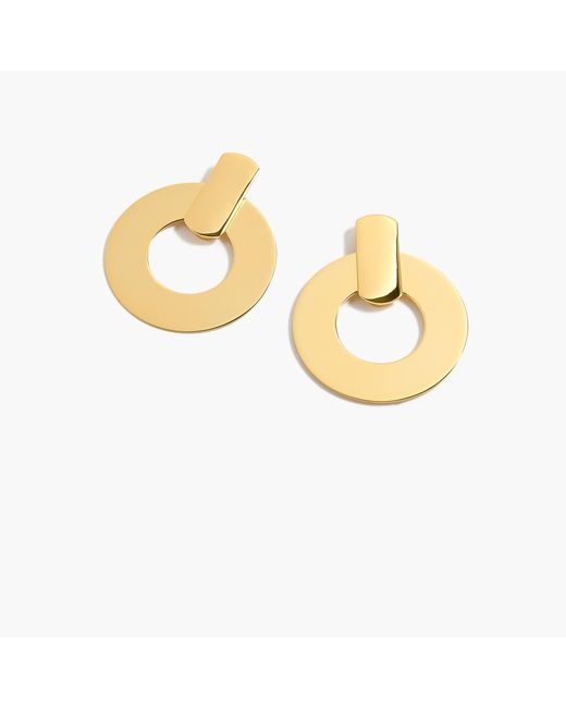 J.Crew - Metallic Flat Drop-hoop Earrings - Lyst
