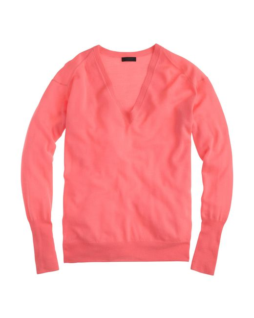 J.Crew | Red Italian Featherweight Cashmere V-neck Boyfriend Sweater | Lyst