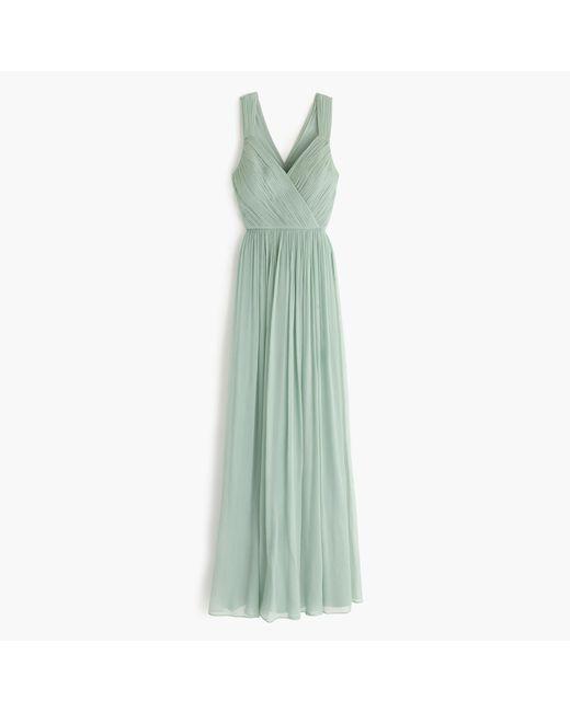 J.Crew | Green Anabel Long Dress In Silk Chiffon | Lyst