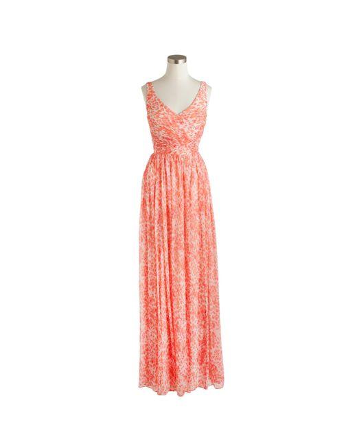 J.Crew | Pink Heidi Long Dress In Watercolor Silk Chiffon | Lyst