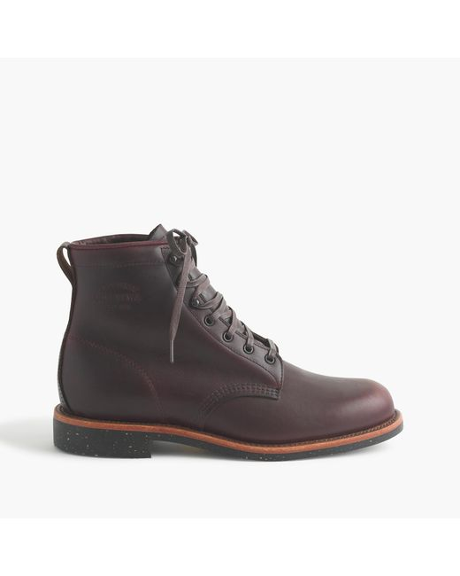 J.Crew | Brown Original Chippewa Leather Plain-toe Boots for Men | Lyst