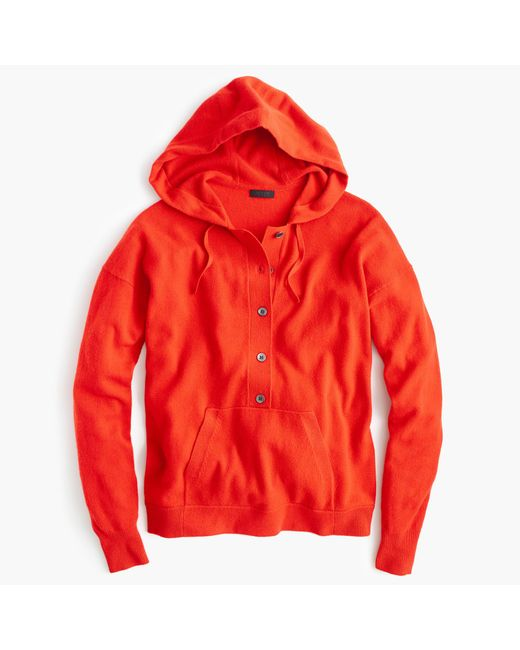 J.Crew | Red Italian Cashmere Hoodie | Lyst