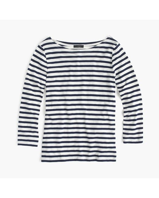 J.Crew | Blue Striped Boatneck T-shirt | Lyst