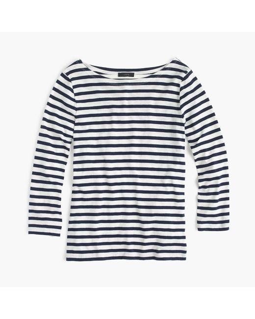 J.Crew | White Striped Boatneck T-shirt | Lyst