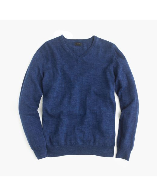 J.Crew | Blue Tall Rugged Cotton V-neck Sweater for Men | Lyst