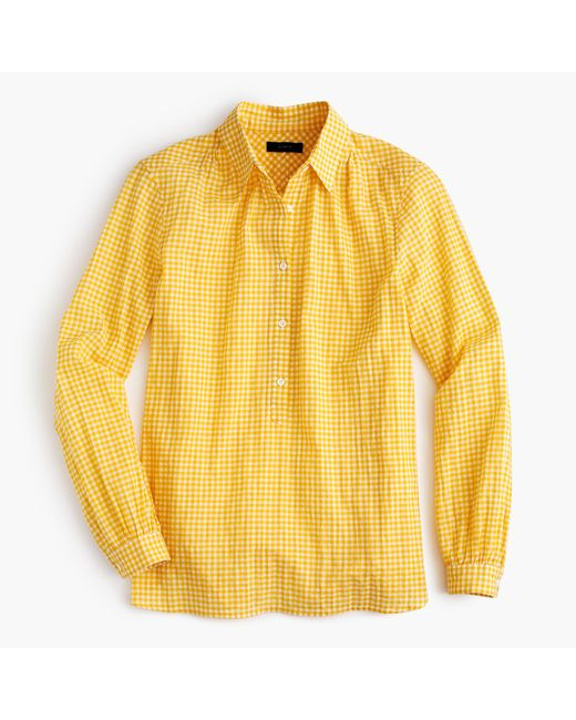 J.Crew | Yellow Tall Gathered Popover Shirt In Microgingham | Lyst