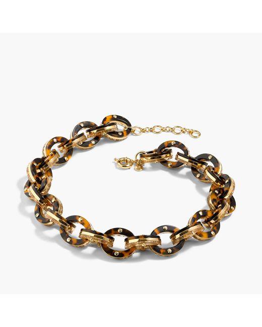 glittery tortoise link necklace in gold tortoise