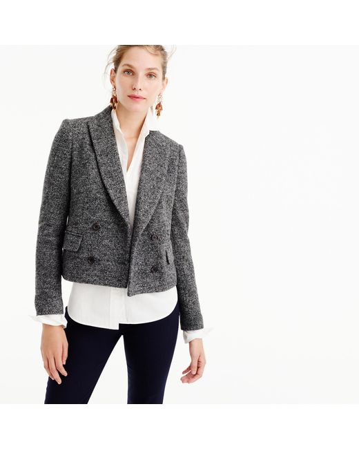 J.Crew | Gray Double-breasted Cropped Blazer | Lyst