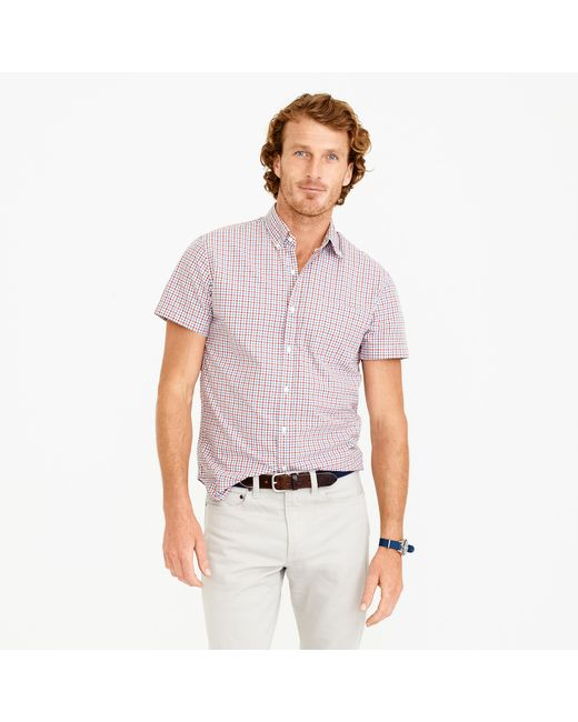 J Crew Secret Wash Short Sleeve Shirt In Red Tattersall In