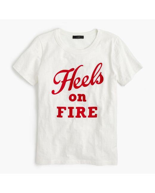 "J.Crew | White Vintage Cotton T-shirt In ""heels On Fire"" | Lyst"