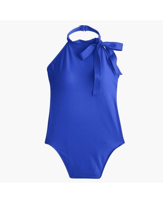 J.Crew   Blue Halter Bow-tie One-piece Swimsuit   Lyst