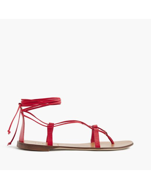 J.Crew | Red Leather Lace-up Sandals | Lyst
