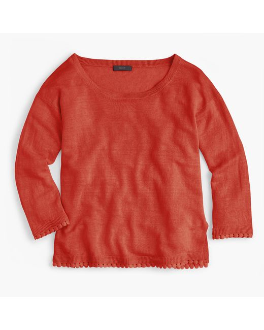 J.Crew   Multicolor Linen Sweater With Pom-pom Trim   Lyst