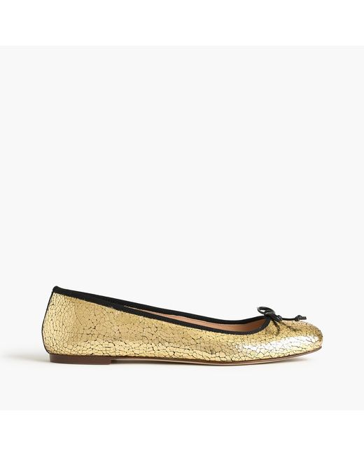 J.Crew | Metallic Lily Ballet Flats In Crackled Leather | Lyst