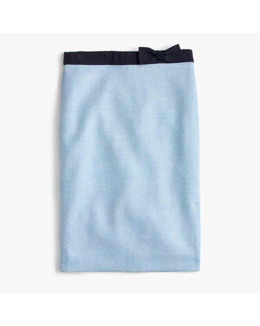 J.Crew | Blue Bow Pencil Skirt | Lyst