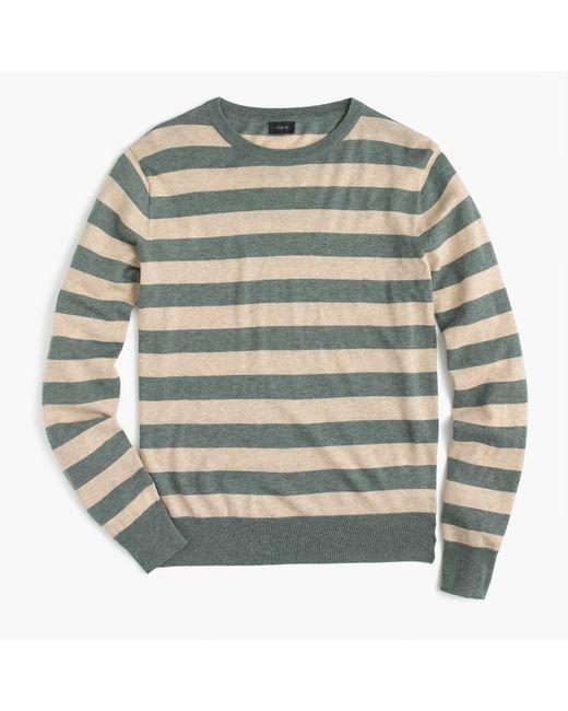 J.Crew | Gray Wool-cotton Crewneck Sweater In Wide Stripe for Men | Lyst