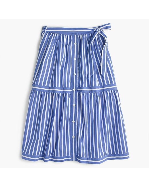 J.Crew | Blue Button-front Striped Skirt | Lyst