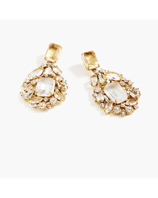 J.Crew Metallic Cluster Drop Stone Earrings
