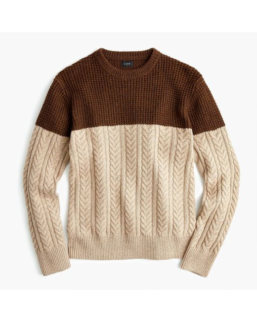 J.Crew - Brown Rugged Merino Wool Mixed-knit Crewneck Sweater for Men - Lyst