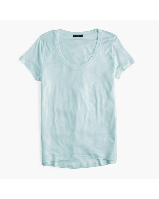 J.Crew - Blue Scoopneck Lyocell T-shirt - Lyst