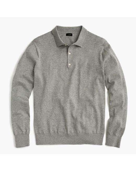 J.Crew - Gray Polo Sweater In Pima Cotton for Men - Lyst