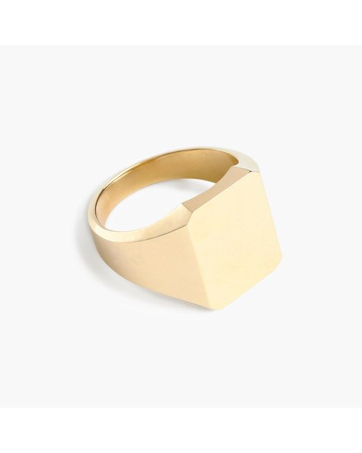 J.Crew | Metallic 14k Gold Square Signet Ring | Lyst