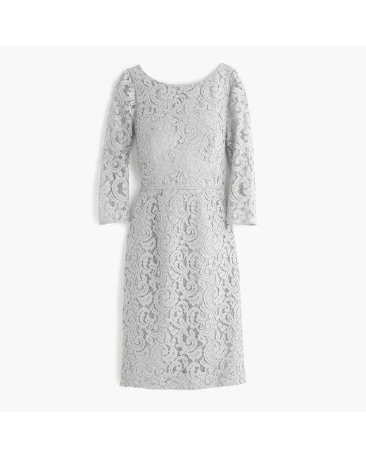 J.Crew | Gray Petite Natalia Dress In Leavers Lace | Lyst
