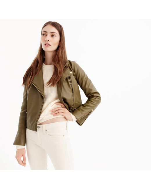 J.Crew - Green Collection Leather Motorcycle Jacket - Lyst