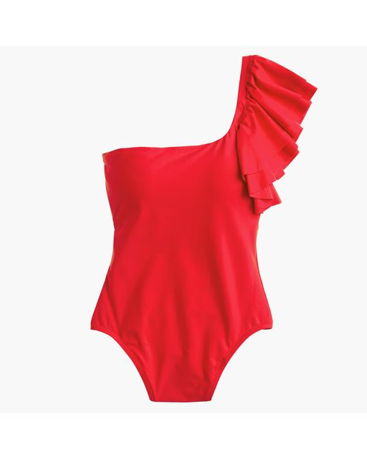 J.Crew | Red Ruffle-shoulder One-piece Swimsuit | Lyst