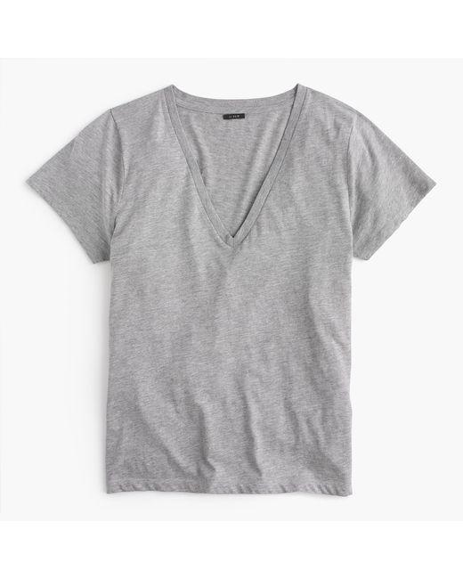 J.Crew   Gray V-neck T-shirt In Supima Cotton   Lyst