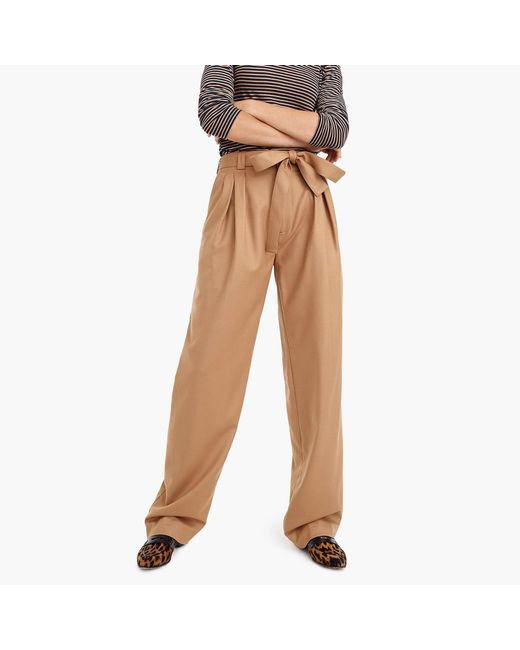 J.Crew - Natural Collection Tie-waist Pant In Italian Flannel - Lyst