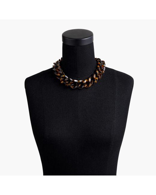 J.Crew - Black Tortoise Chainlink Necklace - Lyst