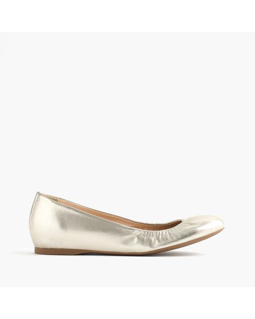 J.Crew | Cece Italian-made Ballet Flats In Metallic Leather | Lyst
