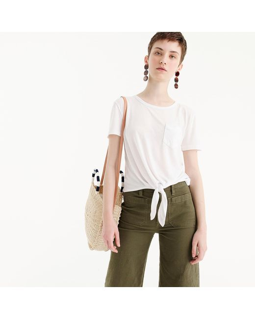 J.Crew - White Knotted Pocket T-shirt - Lyst