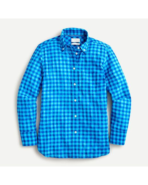 J.Crew Blue Classic-fit Shirt In Crinkle Gingham