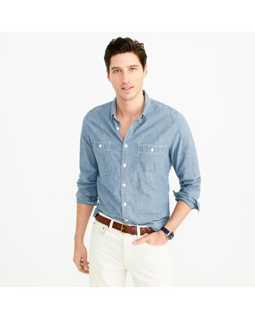 J.Crew | Blue Slim Selvedge Japanese Chambray Utility Shirt for Men | Lyst