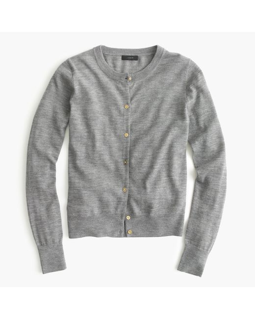 J.Crew | Gray Lightweight Wool Jackie Cardigan Sweater | Lyst