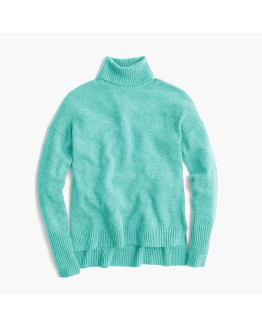 J.Crew   Green Relaxed Wool Turtleneck Sweater With Rib Trim   Lyst