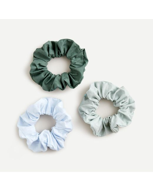J.Crew Green Three-pack Of Wide Cotton Scrunchies