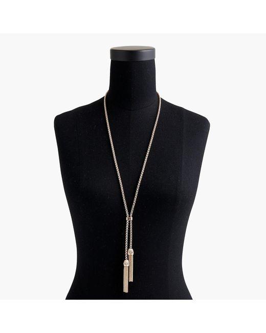 J.Crew - Metallic Tassel Chain Necklace - Lyst