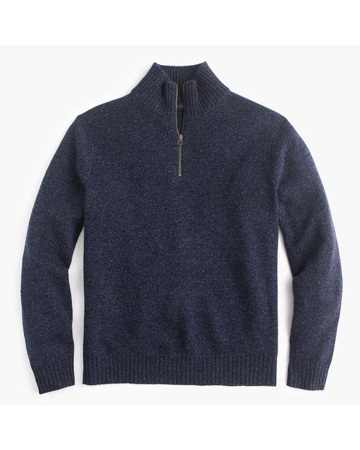 J.Crew | Blue Lambswool Half-zip Sweater for Men | Lyst