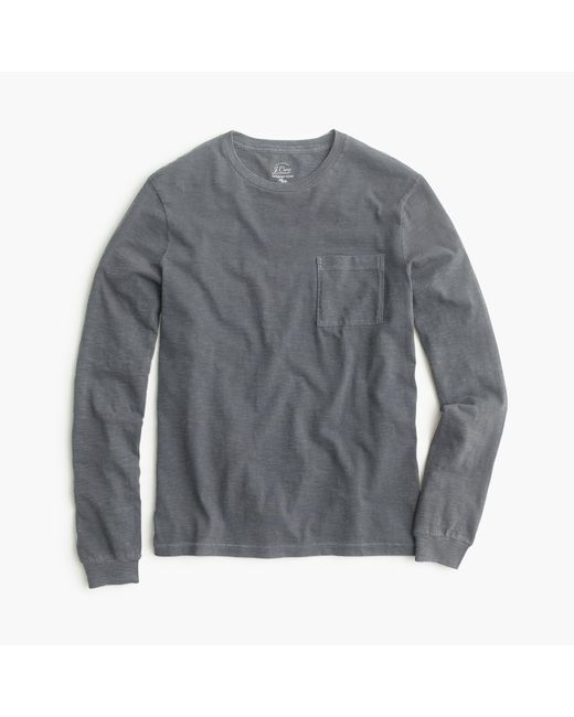 J.Crew   Gray Long-sleeve Garment-dyed T-shirt for Men   Lyst